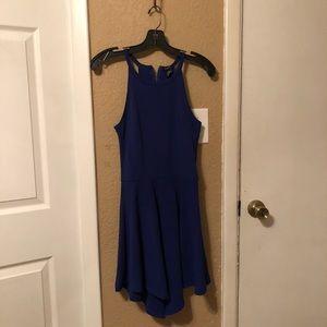Royal blue high neck dress